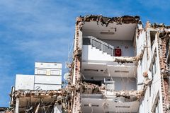 Demolition work of office building. In Madrid Stock Photo