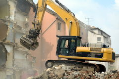 Demolition work. Demolition of a row of houses Royalty Free Stock Photos