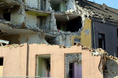 Demolition work. Demolition of a row of houses Royalty Free Stock Photography