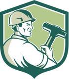 Demolition Worker Sledgehammer Shield Retro Stock Photos