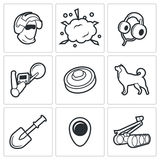 Demolitions, sapper icons. Vector Illustration. Royalty Free Stock Photos