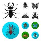 Demolitore, parassita, natura, farfalla Gli insetti hanno messo le icone della raccolta nell'illustrazione nera e piana delle azi Immagini Stock