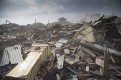 Demolizione del villaggio di Batang a Jakarta del nord Fotografie Stock Libere da Diritti