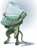 Demon. Green devil with glass - a symbol of the alcoholism (delirium tremens Royalty Free Stock Photos