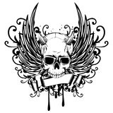 Demon. Abstract vector illustration black and white horned skull demon with wings. Design for tattoo or print t-shirt Royalty Free Stock Images