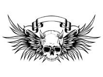 Demon. Abstract vector illustration black and white horned skull demon with wings. Design for tattoo or print t-shirt Royalty Free Stock Photo
