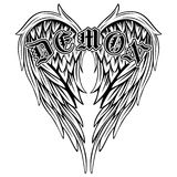 Demon. Abstract vector illustration black and white wings and inscription demon in the Gothic style. Design for tattoo or print t-shirt Stock Photos