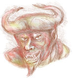 Demon with big horns Royalty Free Stock Photo