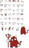 Demon cartoon set. In vector format stock illustration