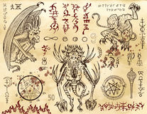Free Demon Collection With Mystic And Occult Symbols. Royalty Free Stock Photography - 89185687