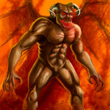 Demon. Devil horned man creature wings red light fire Stock Images