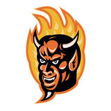 Demon Devil Horns Fire Retro. Illustration of a demon devil with big horns with fire flames in background done in retro style Royalty Free Stock Photography