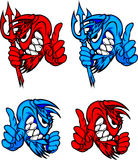 Demon Devil Mascot Vector Logos. Vector Images of Devil / Blue Demon Mascot Logos Stock Images