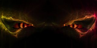 Demon Eyes. Close up of a demon face with cat-like glowing eyes, 3d digitally rendered illustration Stock Images