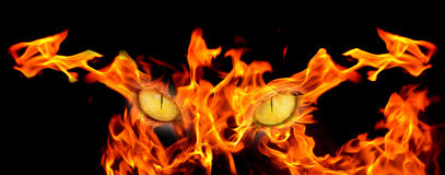 Demon eyes. In burning flames Stock Photography