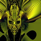 Demon face. Bright green demon mask on black background. Computer-generated image Royalty Free Stock Images