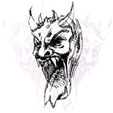 Demon Face Drawing Stock Image