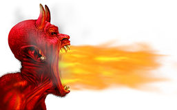 Demon Fire Flame. On a white background as a creepy scary red horned satanic beast monster breathing out hot flames as a halloween or horror symbol with 3D Royalty Free Stock Photos
