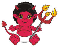 Demon with fire object. Red devil sit and hold a trident with a fire Stock Photography