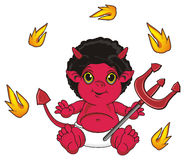Demon and fire. Red devil sit and hold a trident around of many flying fire Royalty Free Stock Photography