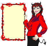 Demon frame. Smiling woman of devil appearance presenting the burning frame of copy space Royalty Free Stock Image