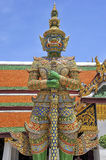 Demon guard of Wat Phrakaew Grand Palace Bangkok. A demon guard in the emerald temples of Wat Phra Kaew Grand Palace in Bangkok Royalty Free Stock Photo