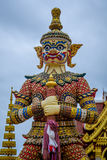 Demon Guardian statues decorating the Buddhist temple in Udon Thani ,Thailand. Stock Image