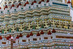Demon Guardian Statues on Wat Arun temple in Bangkok, Thailand royalty free stock image