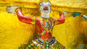 Demon Guardian at Wat Phra Kaew, The Temple of Emerald Buddha in Bangkok, Thailand royalty free stock photography