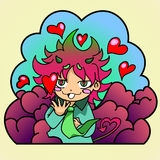 Demon and hearts. Sticker , small demon surrounded by hearts.  hearts in the eyes, wearing a tie Royalty Free Stock Photos