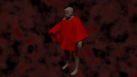 Demon in hell. This is the representation of a old demon in a dark red hell stock illustration