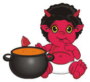 Demon hold a boil Royalty Free Stock Photos