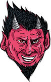 Demon Horns Goatee Head Drawing Stock Images