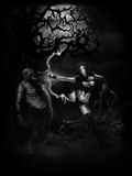 Demon Hunter. Sexy Demon Hunter hunting zombies in a dark forest good for t-shirt design Stock Images