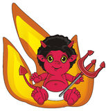 Demon and large fire. Red devil sit with trident near the large orange fire Royalty Free Stock Photography