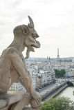 A Demon-Like Gargoyle on Notre Dame Cathedral II. Stock Images