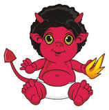 Demon with a little fire. Happy red devil sit and hold on his hand a fire Royalty Free Stock Image