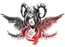 Demon med vingar Arkivbild