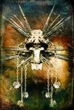 Demon met geschilderde zwaarden royalty-vrije illustratie