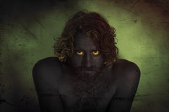Demon Monster Beard. Demon monster man with beard and frightening eyes Royalty Free Stock Photos