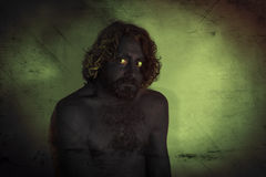 Demon Monster Beard. Demon monster man with beard and frightening eyes Royalty Free Stock Photography