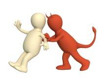Demon, pushing the puppet Royalty Free Stock Image