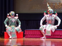Khon Thai culture mask drama dance show Stock Photo