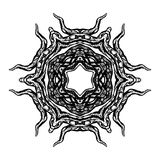 Demon's Bowels Glyph. A demonic black and white clip-art graphic of organic shapes emerging from a 6 sided radial symbol Stock Images