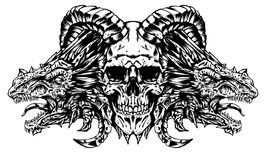 Demon skull with dragons vector illustration