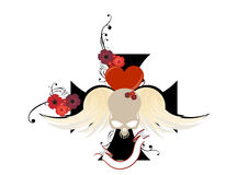 Demon skull graphic. With red heart and wings. Blank banner below with white background royalty free illustration