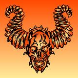 Demon skull vector illustration. Monsters massacre Stock Photos