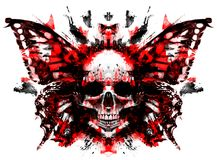 Free Demon Skull With Butterfly Royalty Free Stock Image - 124526536