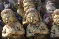 Demon statues in the seaside temple on the beach Royalty Free Stock Photo