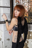 Demon. Stunning redhead model posing as a demon with black wings Stock Photo